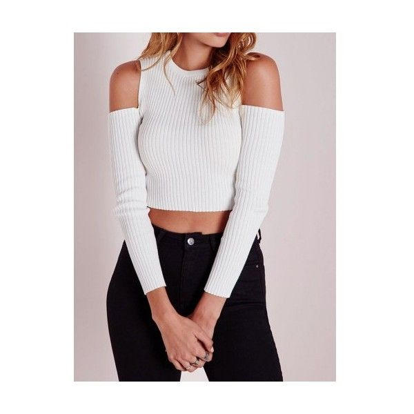 14c28a881a5831 White Cold Shoulder Crop Tight Knitted Sweater ( 19) ❤ liked on Polyvore  featuring tops