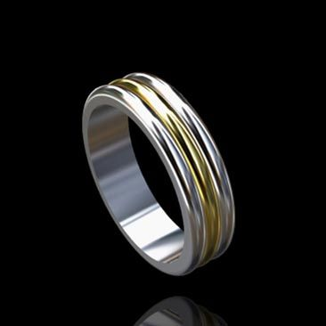 Triple Stripe Two Tone Mens Wedding Ring 18K White and Yellow