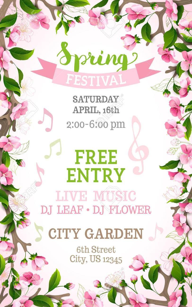 Vector spring festival template. Floral frame. Bright pink