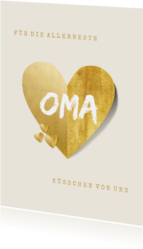 Stilvolle Grußkarte für die allerbeste Oma mit goldenem Herz (kein Golddruck). Alle Texte auf der Karte sind änderbar.