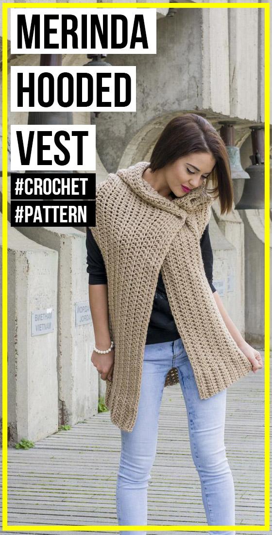 Photo of crochet The Merinda Hooded Vest pattern
