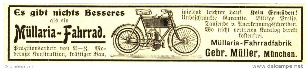 Original Werbung Anzeige 1905 Mullaria Fahrrad Gebruder