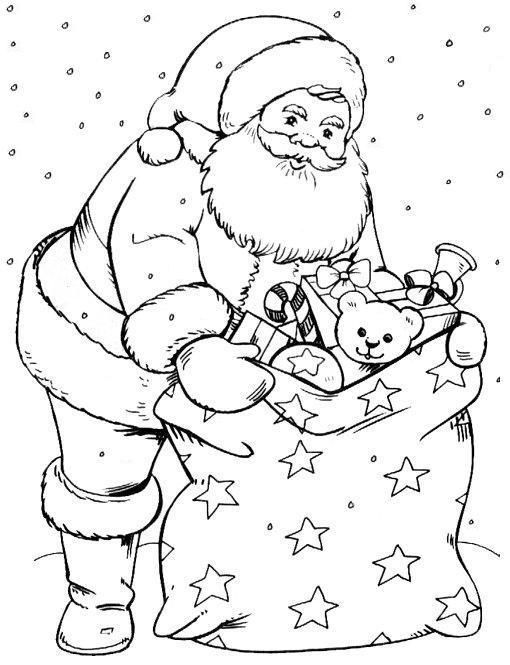 santa bag of toys christmas coloring page