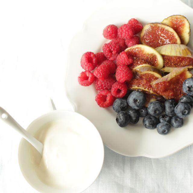 soy yoghurt and beautiful summer fruits - (vegan and glutenfree) - find more healthy and delicious inspiration on my blog: www.healthyhappysteffi.com