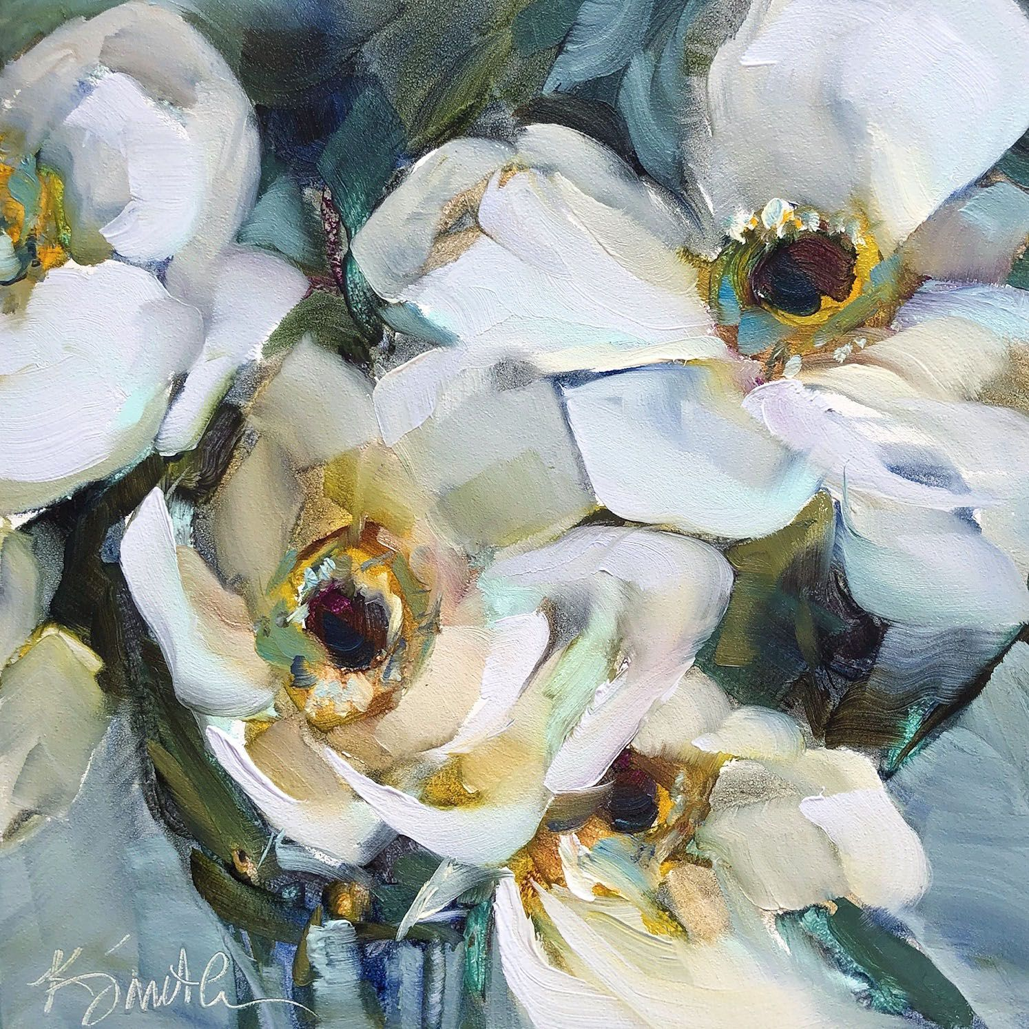 Anemone Original Oil Painting Demo By Lancaster Pa Artist Kim Smith Flores Pintadas Pintar En Tela Pintar