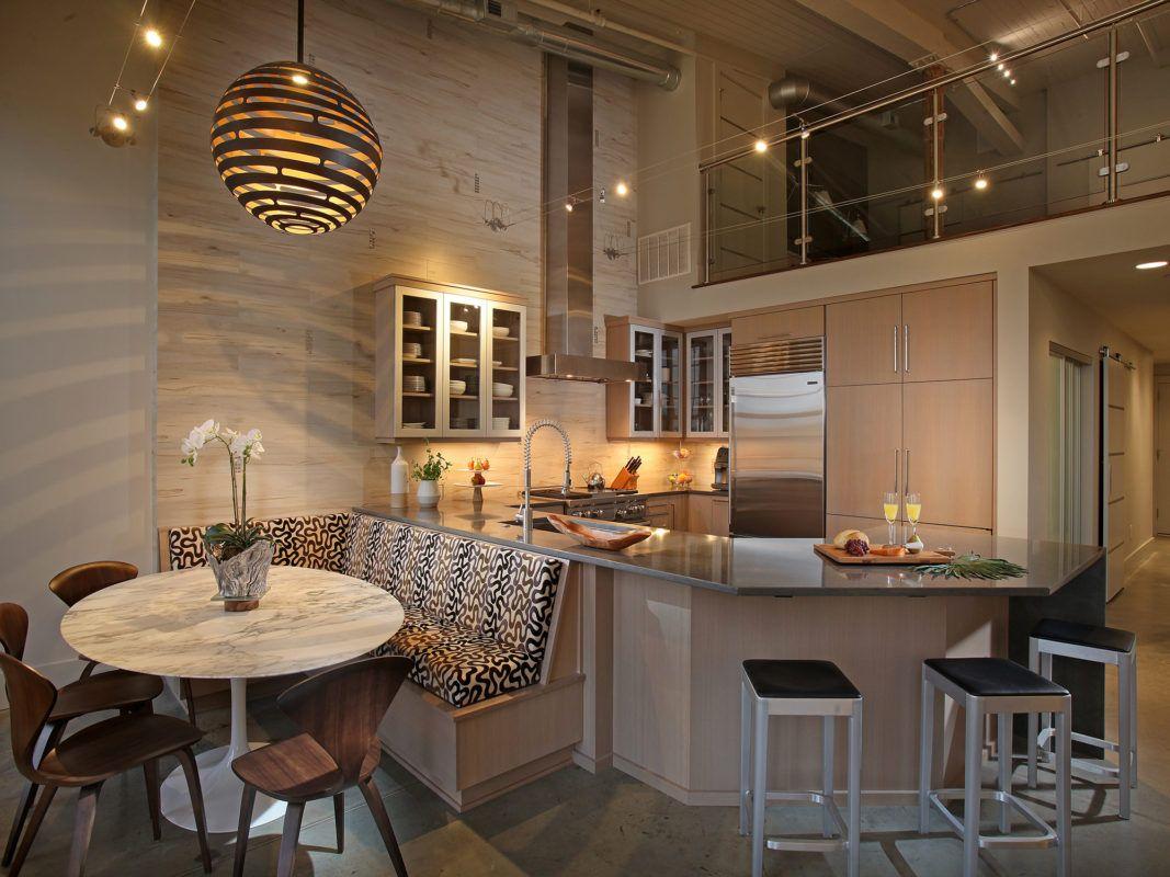 City Loft Kitchen With A Medium Wood Crystal Cabinets Loft Kitchen Cottage Cabinet Cradle Woodworking Plans