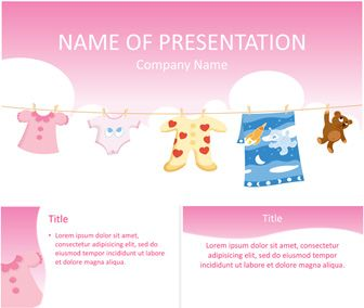 Templateswise feature a wide variety of free powerpoint cute powerpoint template with baby clothes on a clothesline with a pink background use this theme for presentations on baby baby wear baby toys etc toneelgroepblik Images