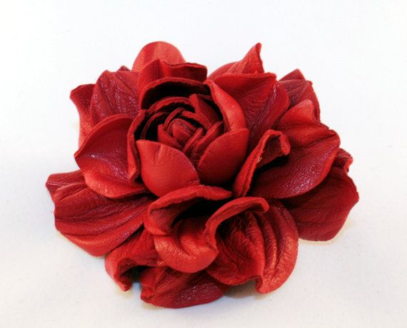 Red Leather Rose Flower Brooch by leasstudio on Etsy