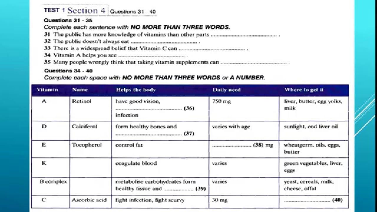 IELTS Practice Test 1 Listening Section 4 with answer key