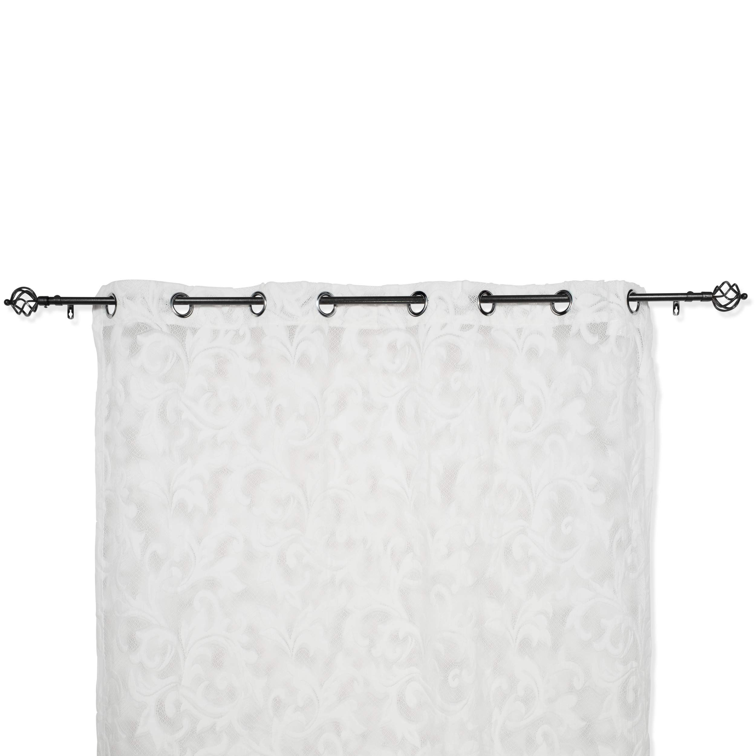 Brightmaison White Lace Curtain Panel 57 X 98 Inches Beautifully