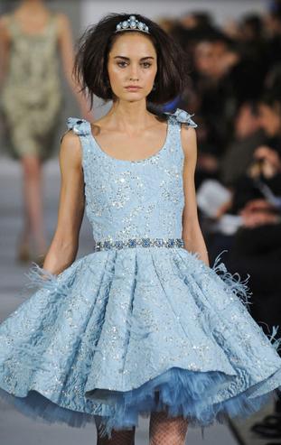 2725093421 Alice in Wonderland   karen cox. Oscar de la Renta blue cocktail dress