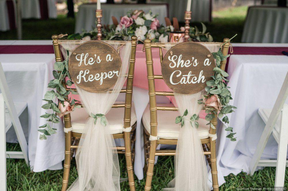 Wooden Wedding Chair Decor Baseball Inspired Love Quote Quinton Thomas Photography Wedding Chair Decorations Wedding Chairs Beach Wedding Decorations