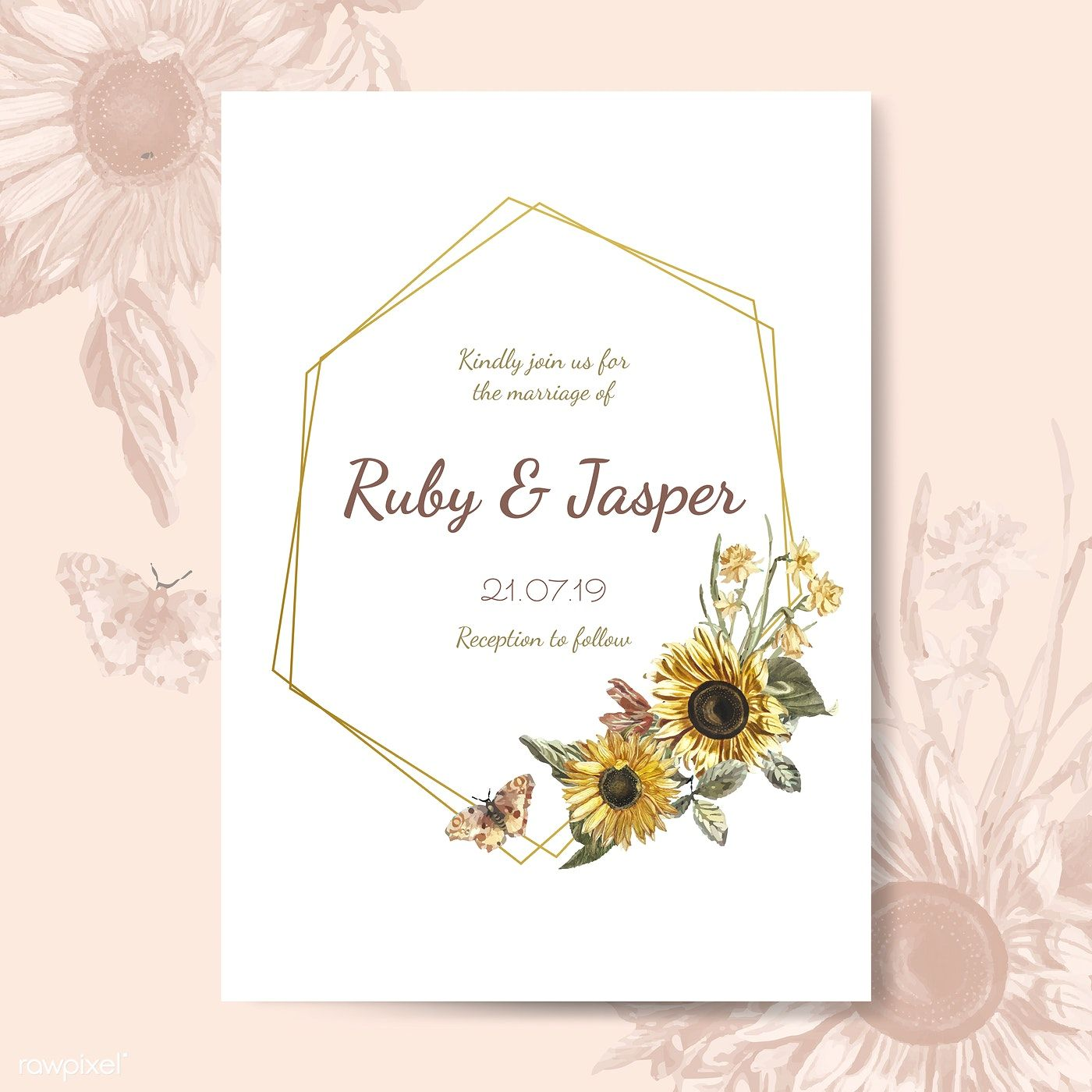 Wedding invitation card mockup vector free image by