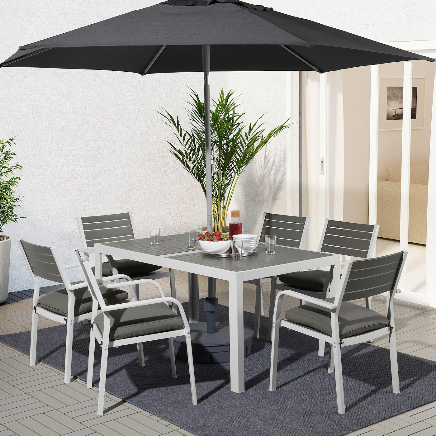 SJÄLLAND dark grey, Frösön/Duvholmen dark grey, Table+6