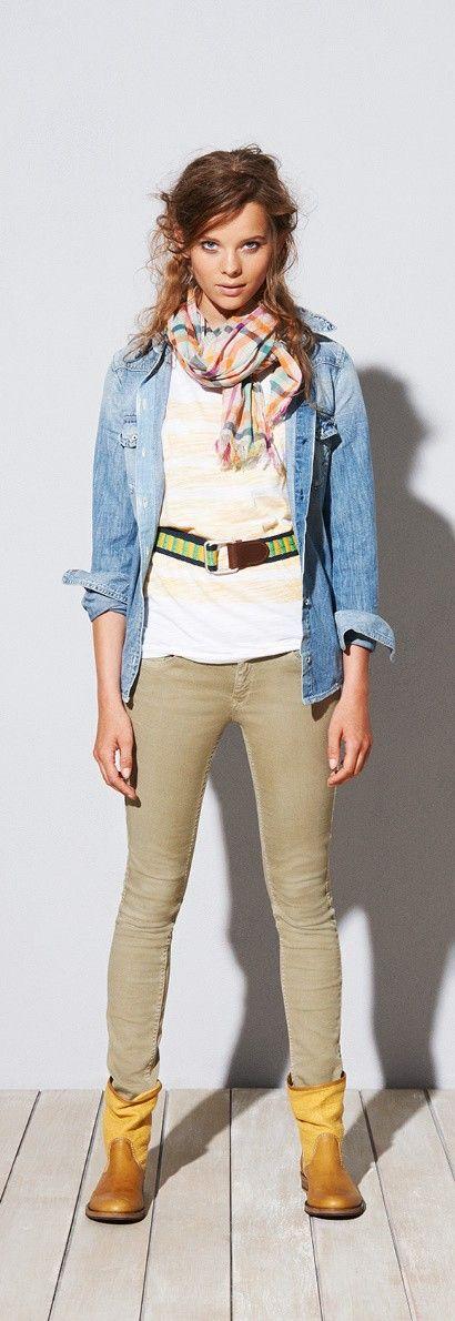 Hilfiger Denim SS13 Kirstie Denim Shirt, Frida Check Shirt, Rebecca Cotton Scarf, Sophie Super Slim Jeans, Amanda Cotton Belt, Hudson Boot #hilfigerdenim #tommyhilfiger #SS13 #womenswear #Spring2013