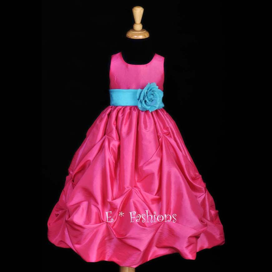 Fuchsia hot pink pool blue wedding pageant party flower girl dress fuchsia hot pink pool blue wedding pageant party flower girl dress 9m 2 4 6 8 10 mightylinksfo Gallery