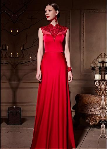 Fascinating Densified Net Illusion High Neckline Sheath Long Formal  Dress