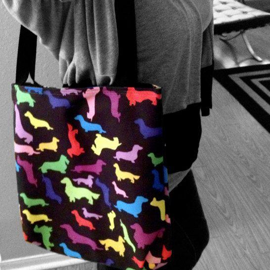 Colorful Rainbow Dachshund Weenie Dog Tote Bag