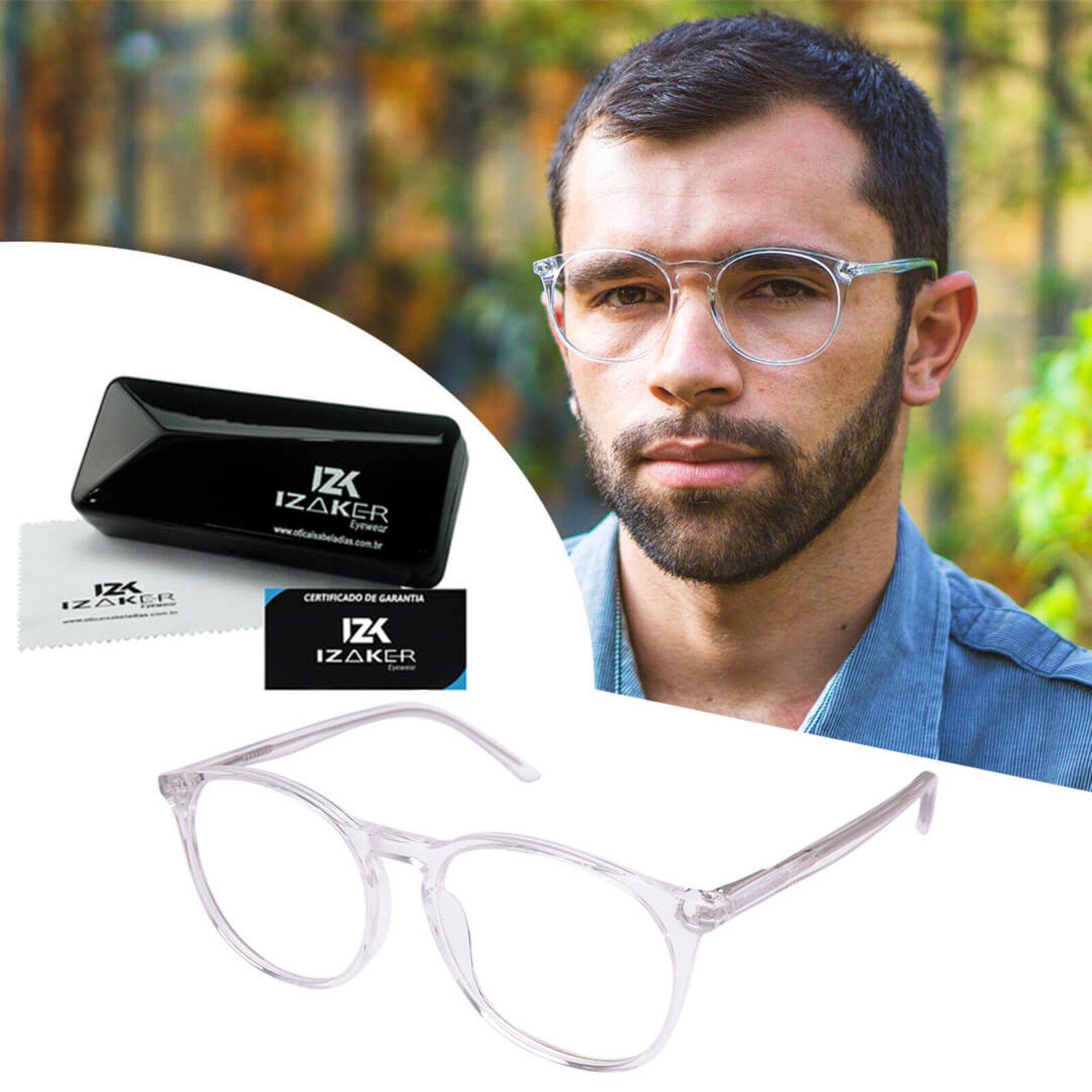 Armacao Oculos Grau Masculino Redondo Retro Izaker Transparente
