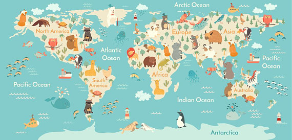 Animals world map wall decor background vector illustration drawn animals world map wall decor background vector illustration drawn digital file gumiabroncs Gallery