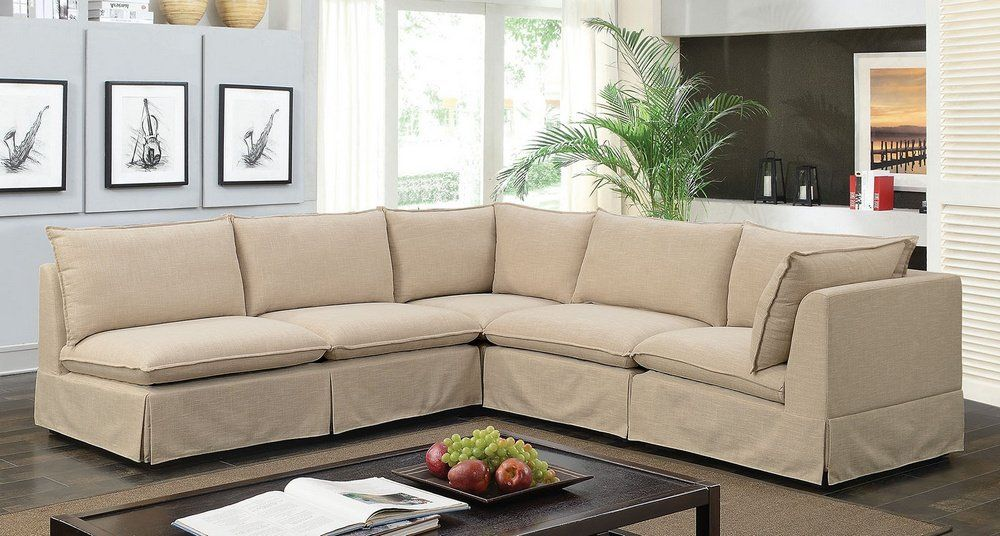 Joelle 4pc Beige Fabric Sectional Sofa By Furniture Of America