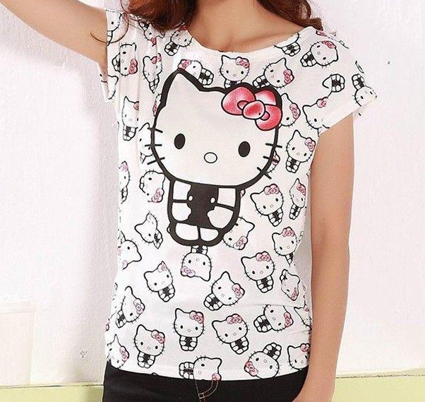 Dámské letní tričko s potiskem Hello Kitty – trička s potiskem Na tento  produkt se vztahuje 340d2777909