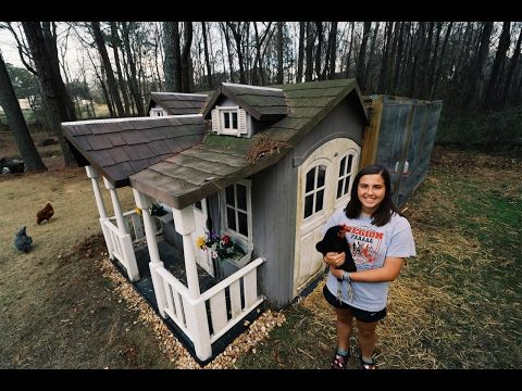 15 year old turns playhouse into chicken coop - youtube | chickens