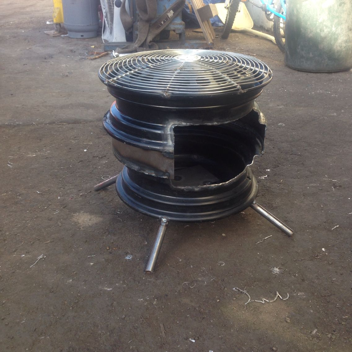 Camp stove heater fire pit made from two space saver