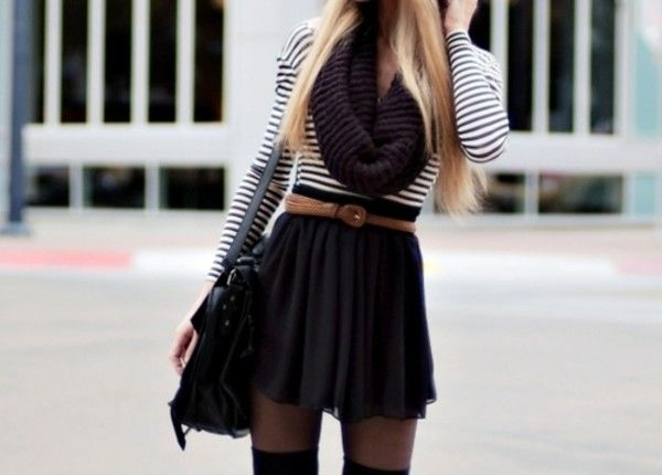 Scarf: knit infinity knit infinity purple skirt black skater skirt tucked in belted stripes tights gorgeous.