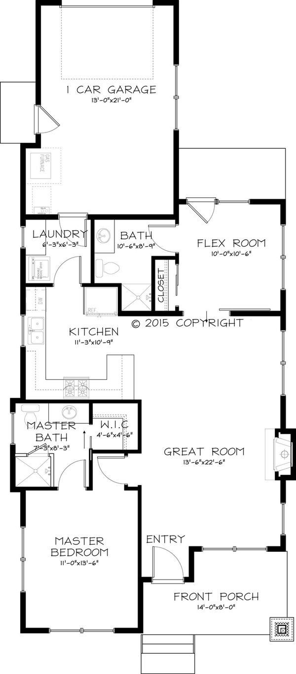 Craftsman style house plan 2 beds 2 baths 999 sq ft plan for Craftsman beach house plans