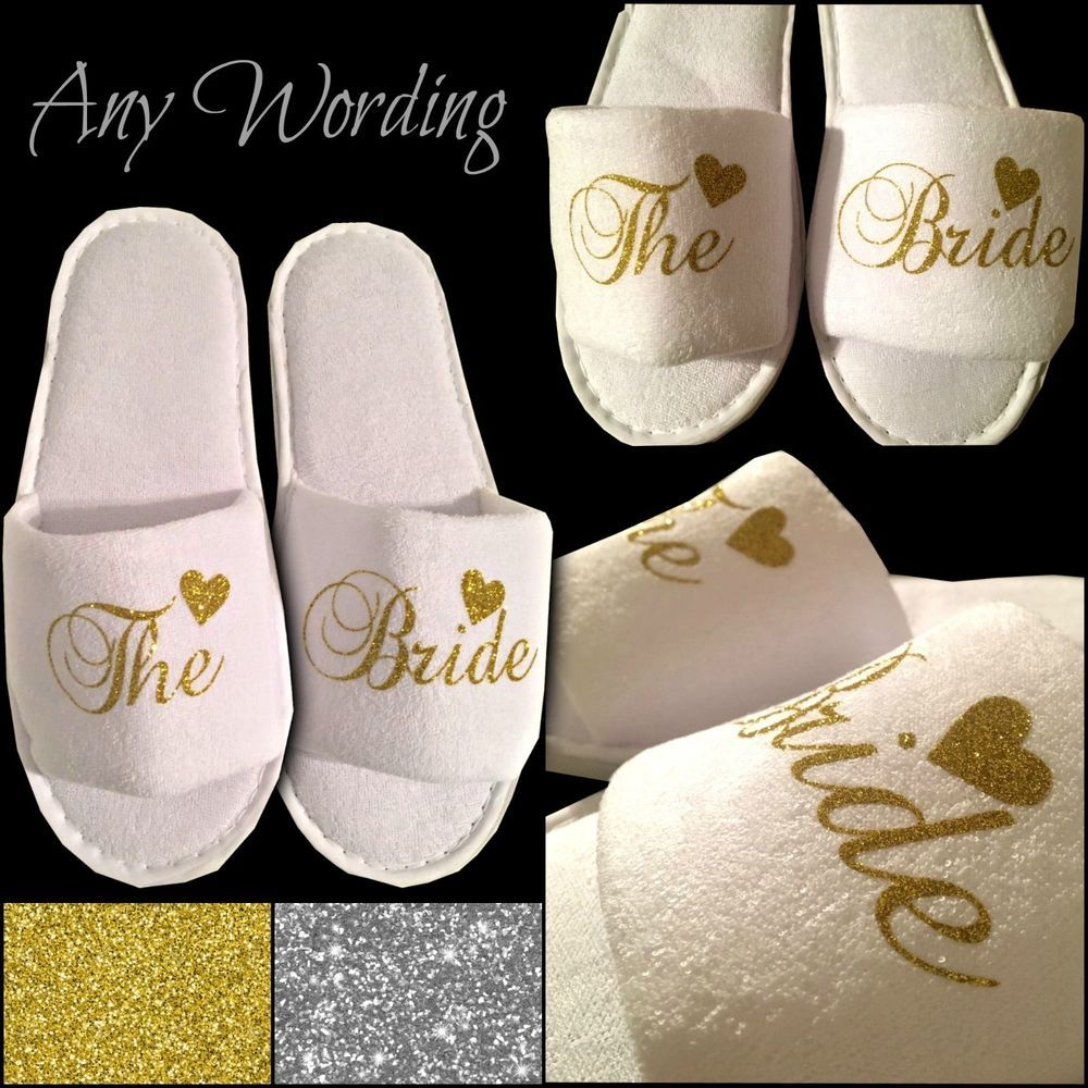 WHITE WEDDING SLIPPERS PERSONALISED REAL GLITTER HEART NOVELTY BRIDAL OPEN TOE