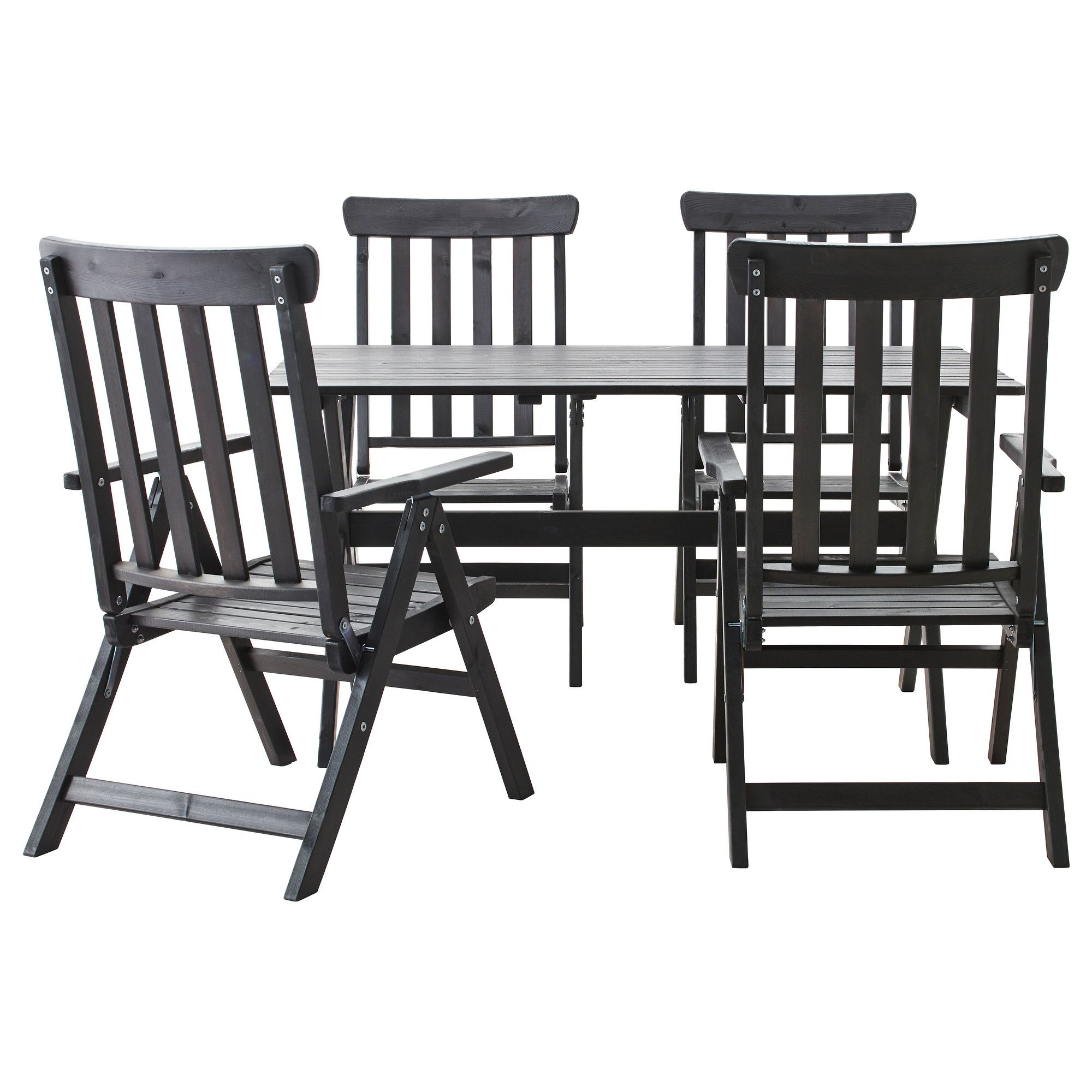 """""""NGS– Table 4 reclining chairs outdoor black stained IKEA"""