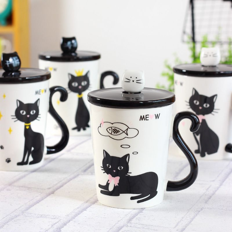 New Lovely Cat Tail Handle Mugs Cup Ceramic Coffee Tea Milk Drinkware With  Spoon Cover Three