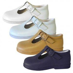 4368ed66 Zapatos niños tipo pepito piel napa Andanines blanco, celeste, camel ...