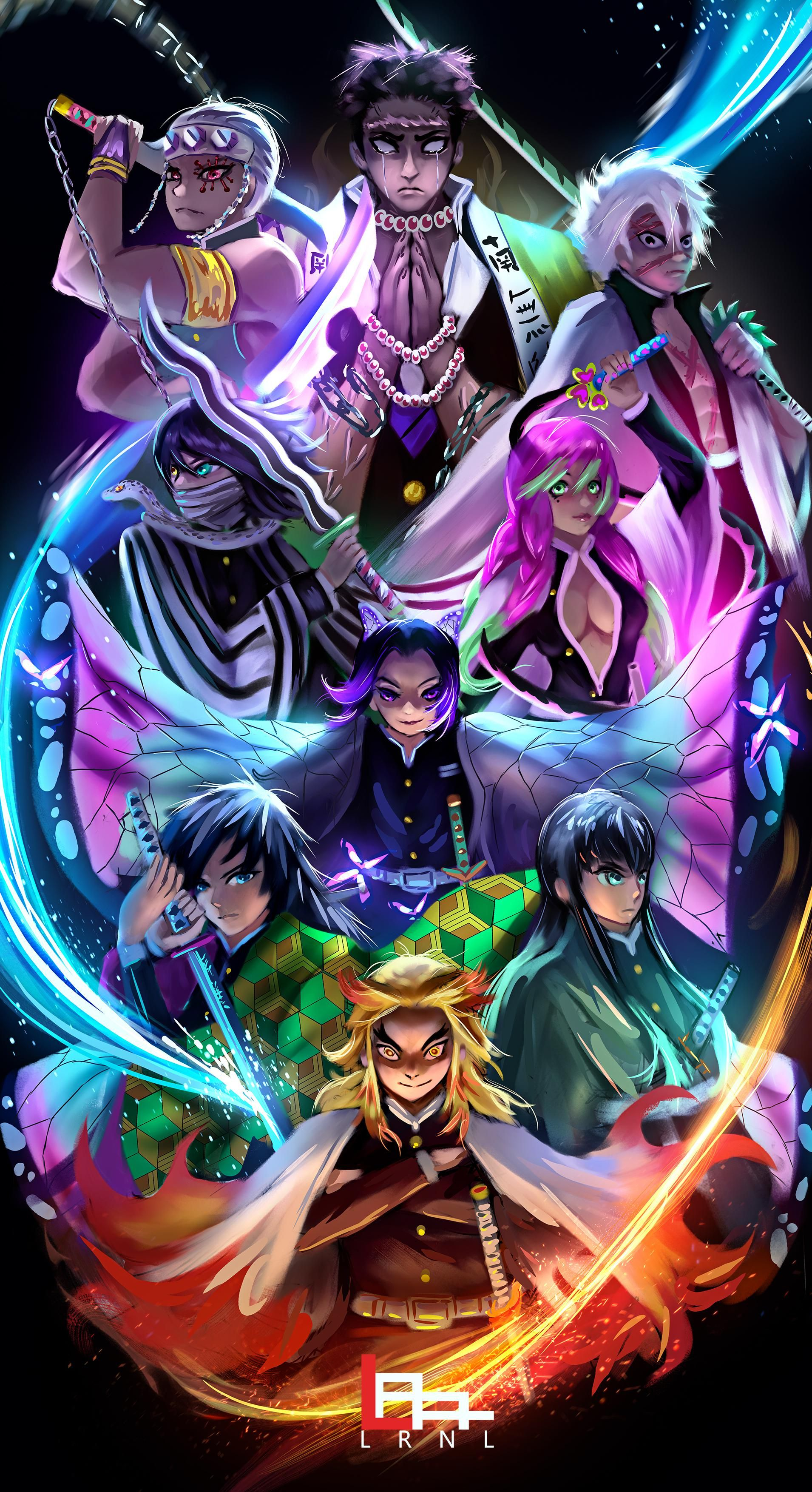 All Hashiras Lrnl Me Digital 2019 Art In 2020 Anime Demon Cool Anime Wallpapers Anime