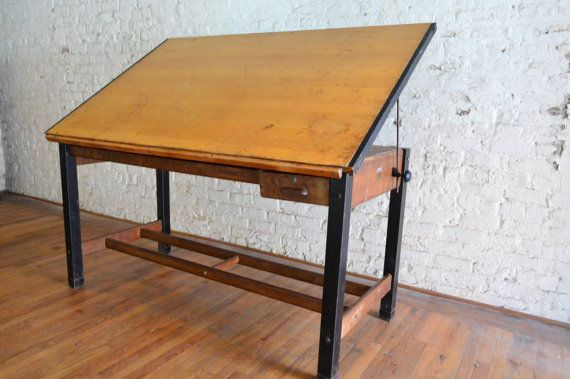 Ordinaire Large Industrial Hamilton Drafting Table Antique By GalaxieModern Danish  Modern Furniture, Mid Century Modern Furniture