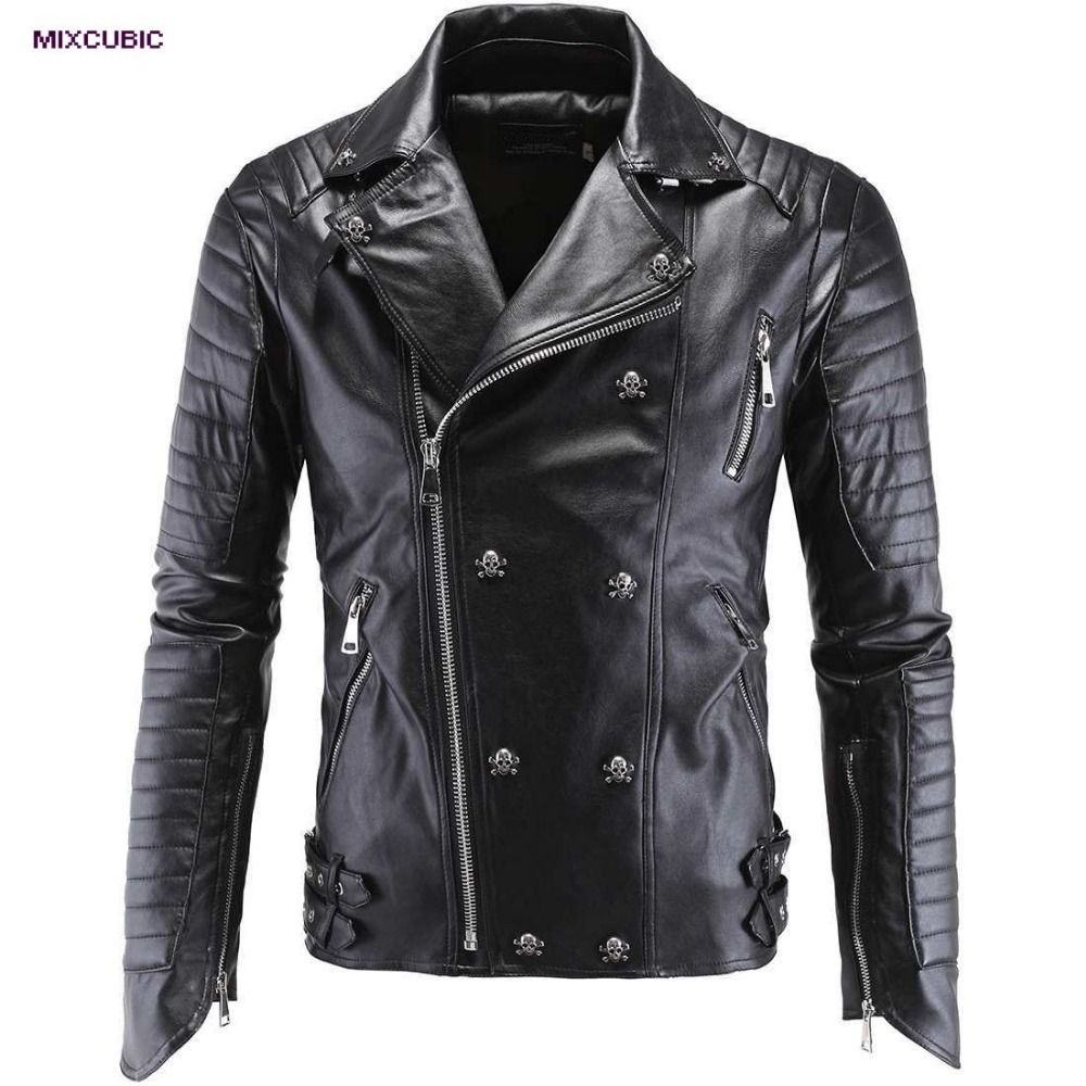 bbcbc3d6e MIXCUBIC 2017 Autumn College style Unique skull leather jackets men ...