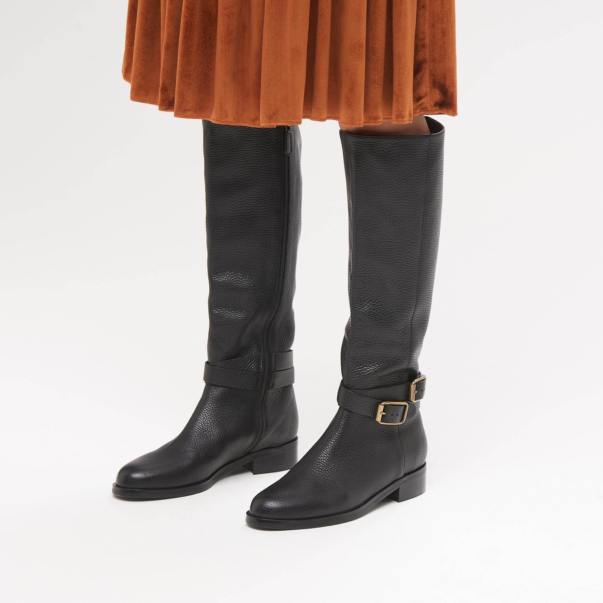 e4ba3a254e70 Brogan Black Leather Knee Boots