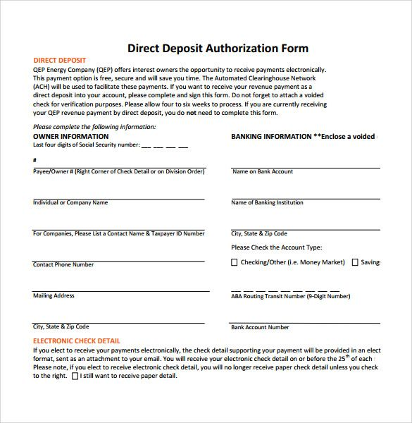 Direct Deposit Authorization Form Examples Application Employment