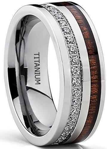 Titanium Men's Wedding Band Ring With Real Koa Wood Inlay Cubic Zirconia CZ, 8MM Comfort Fit