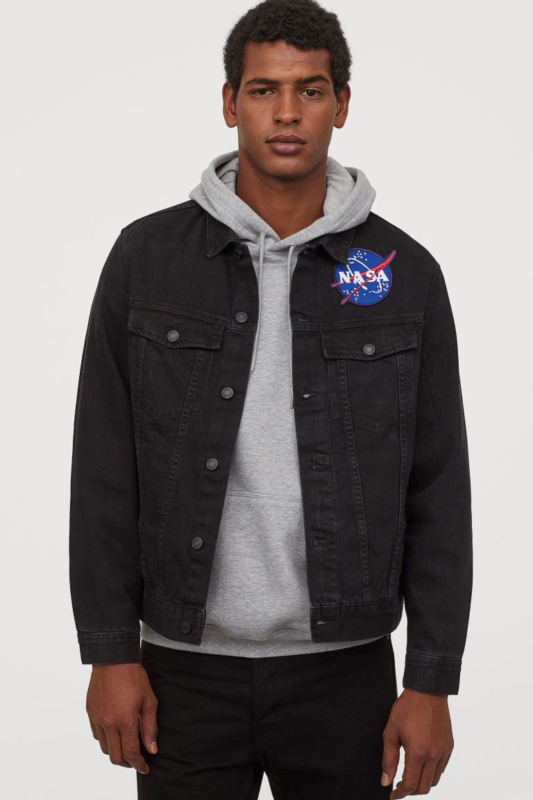Denim Jacket Black Nasa Men H M Us Denim Jacket H M Denim Jacket Nasa Clothes [ 1152 x 768 Pixel ]