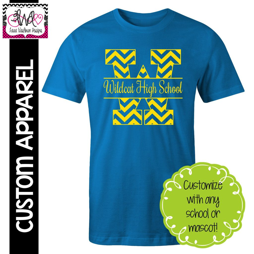Apparel Chevron Block Letter School Spirit T Shirt Laura Washburn
