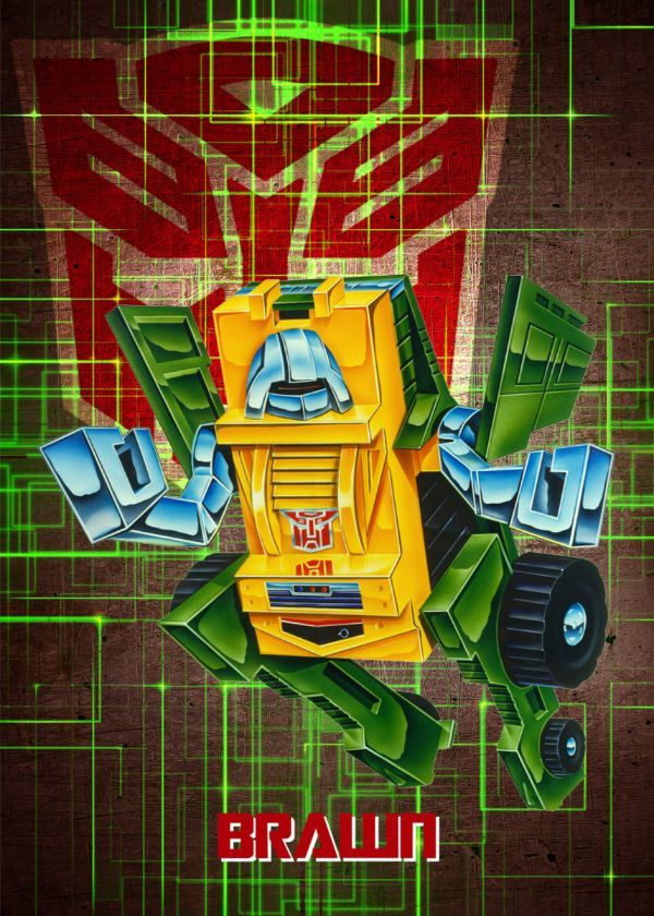 "Transformers G1 Autobots Brawn #Displate artwork by artist ""Wiebes"". Part of a set featuring… 