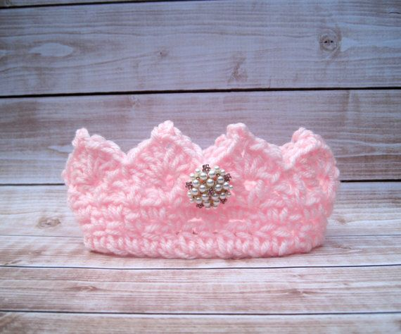 Pink Baby Princess Crown, Baby Girl Birthday Smash, Baby Girl Crown, Baby Girl Tiara, Newborn Girl Crown, Infant Girl Crown, Newborn Crown #crownscrocheted