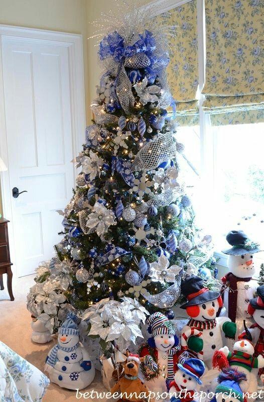 Deep Blue Decorated Christmas Tree W A Snowman Collection Cool Christmas Trees Christmas Tree Themes Christmas Tree Design