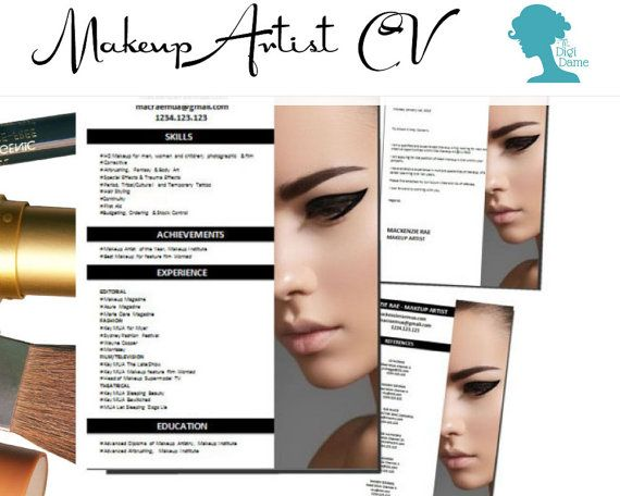 Cv Template Package Makeup Artist Includes A Cv Cover Letter And References Page In Docx Format Coiffure Et Beaute Beaute Coiffure