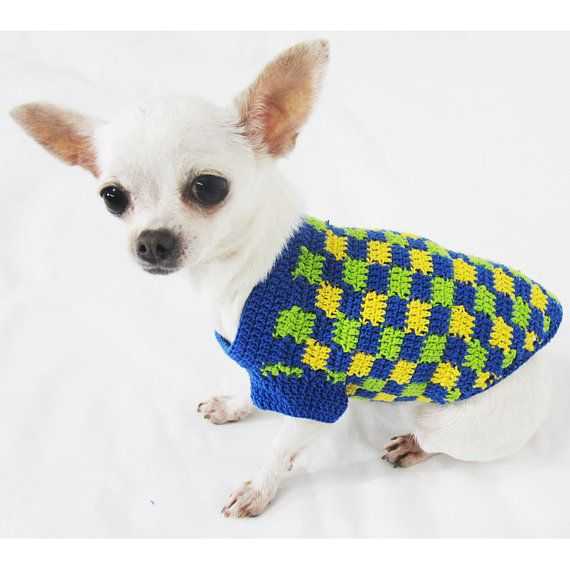 Plaid Dog Clothes Handmade Crochet Unique Pattern Puppy Clothing ...
