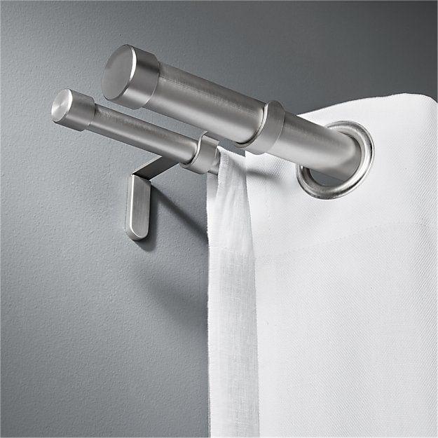Shop Brushed Aluminum Double Rod Curtain Rod Set 28 48 Two Aluminum Tubes With Brushed Metal Finish Go The Di Double Rod Curtains Curtain Rods Double Rods
