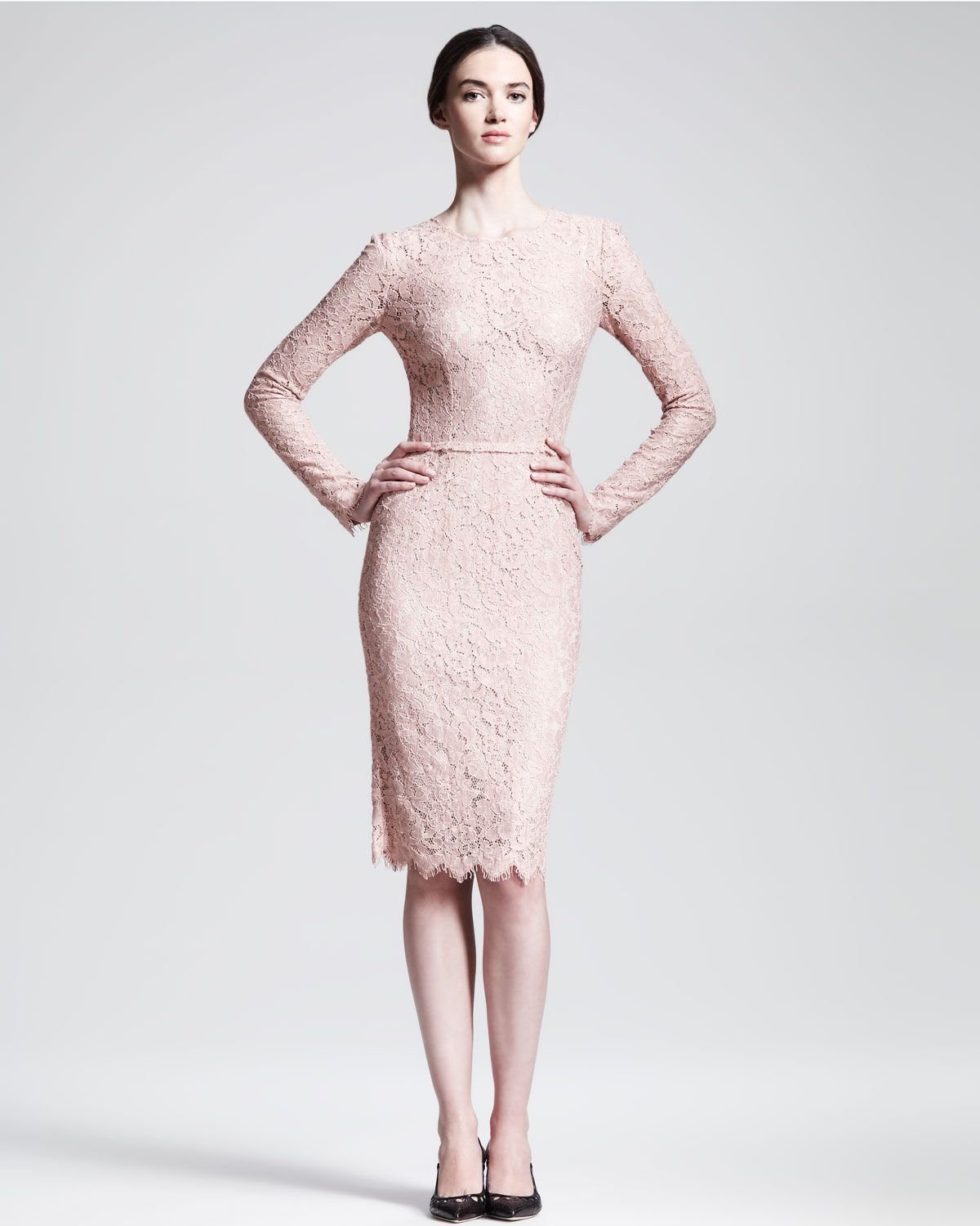 Dolce & Gabbana Long-Sleeve Belted Lace Dress - Neiman Marcus ...