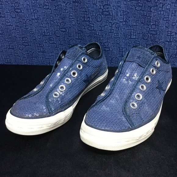 CONVERSE ALL STAR slip on OX blue sequins . 37.5 7 Minimal,wear . No issues Converse Shoes